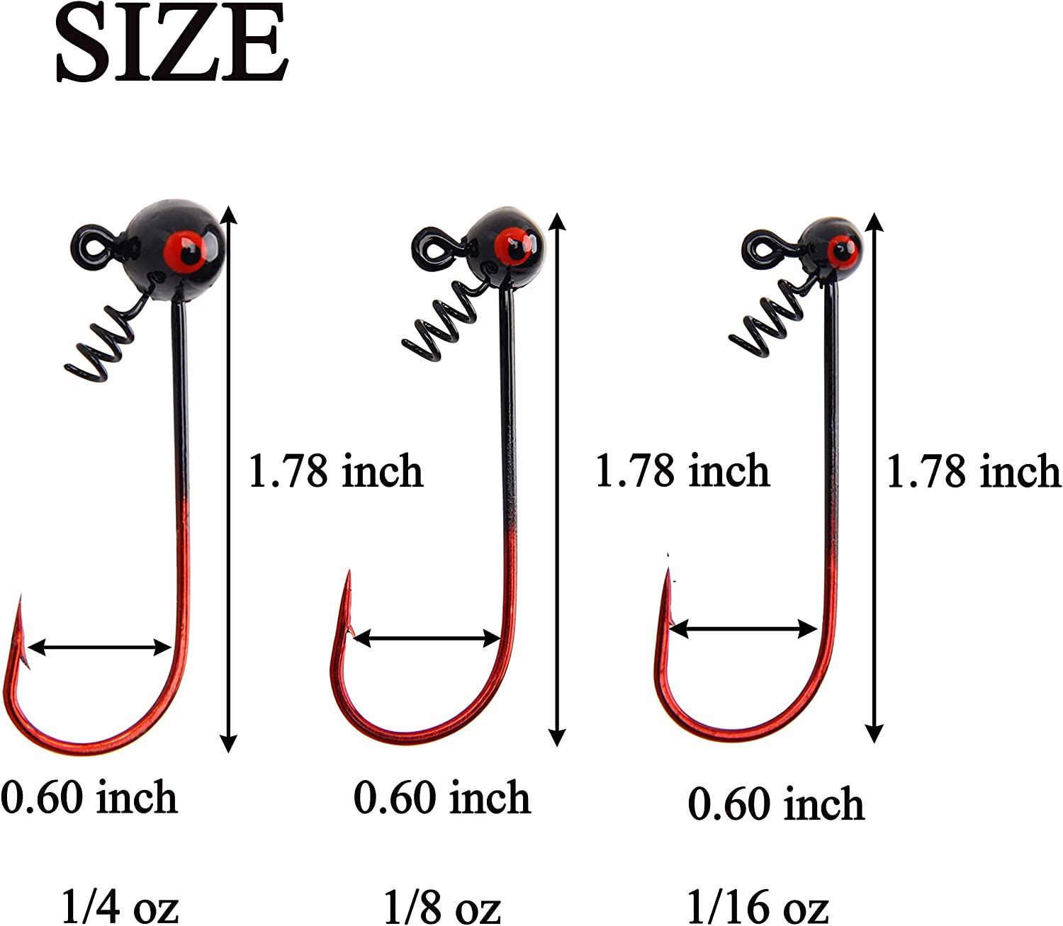 Lead Round Ball Head Jigs with Screw in Barb Secure Spring Designed for Catching Big Fish Saltwater and Freshwater 5//10pcs AGOOL Fishing Shakey Head Jig Hooks