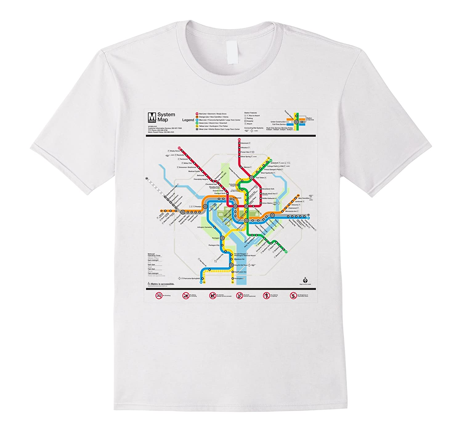 Washington DC Metro Map Silver Line T-Shirt-CL – Colamaga on