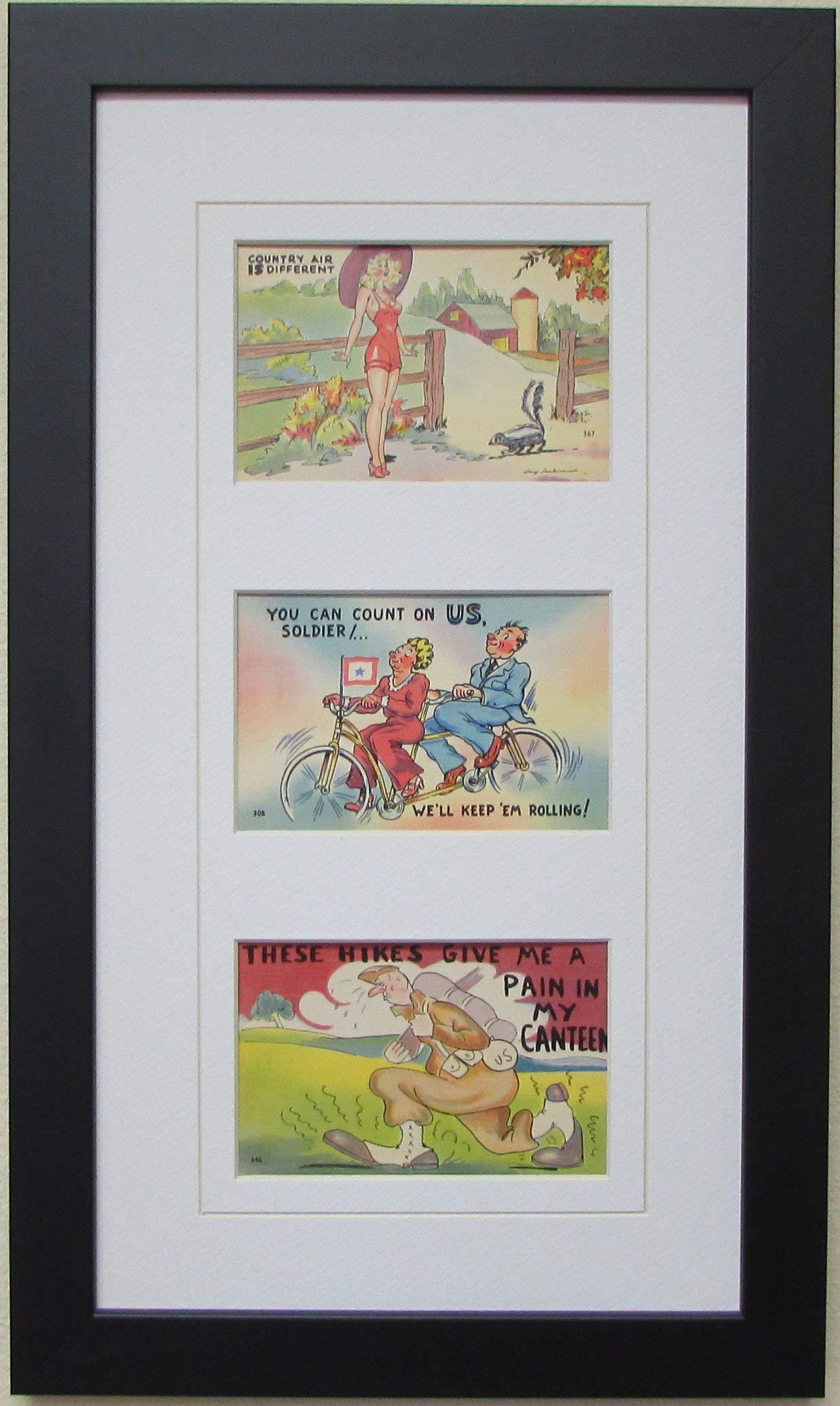 Postcard Frame for Three (3) 3.5'' X 5.5'' Postcards or Photos White (White Trim) Matting