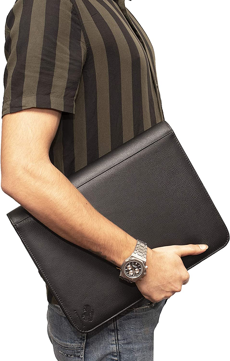 Premium Leather RFID Blocking Business Portfolio and Professional Organizer with a Magnetic Closure Vintage Brown