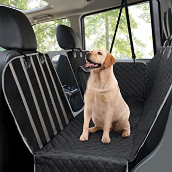 Dog Car Seat Covers, Pet Back Seat Cover With Mesh Viewing Window/Side Flaps
