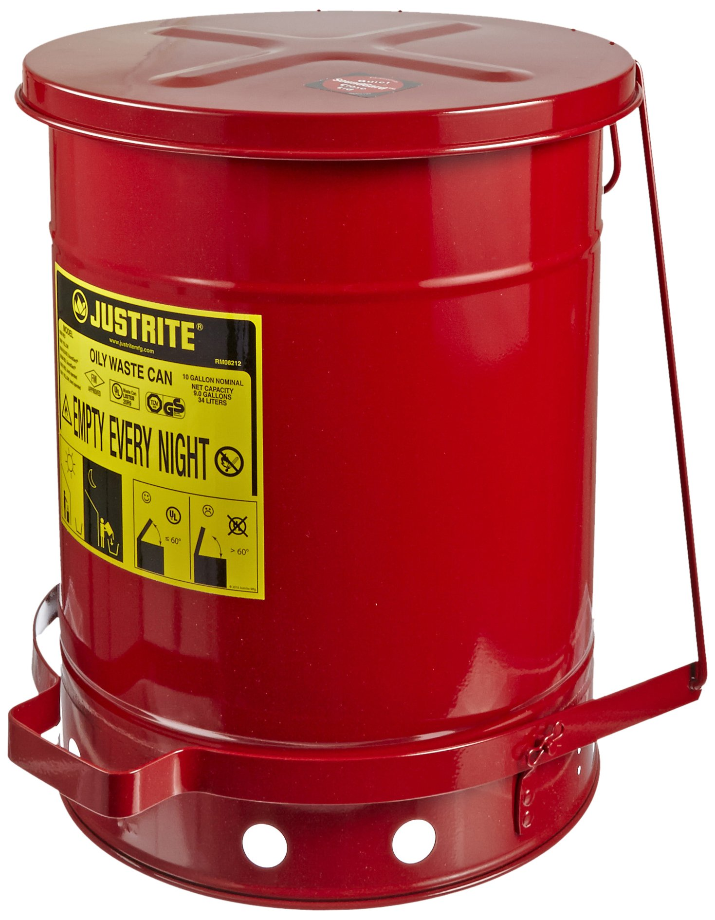 Justrite 09308 SoundGuard Galvanized Steel Oily Waste Safety Can with Foot Operated Cover, 10 Gallon Capacity, Red