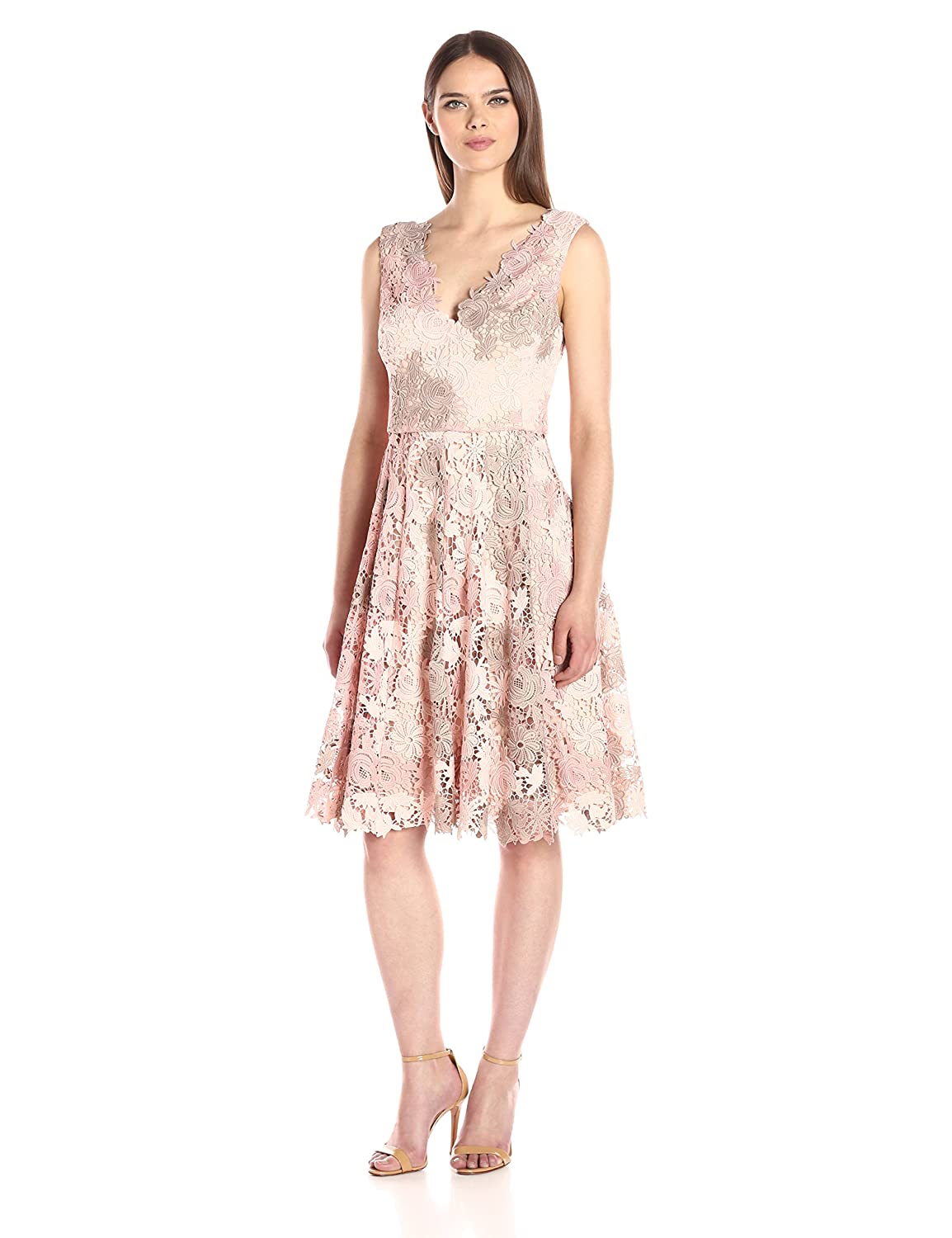 b8cd6c03df Vera Wang Women s Sleeveless 3D Lace Cocktail Dress with Double V Neck