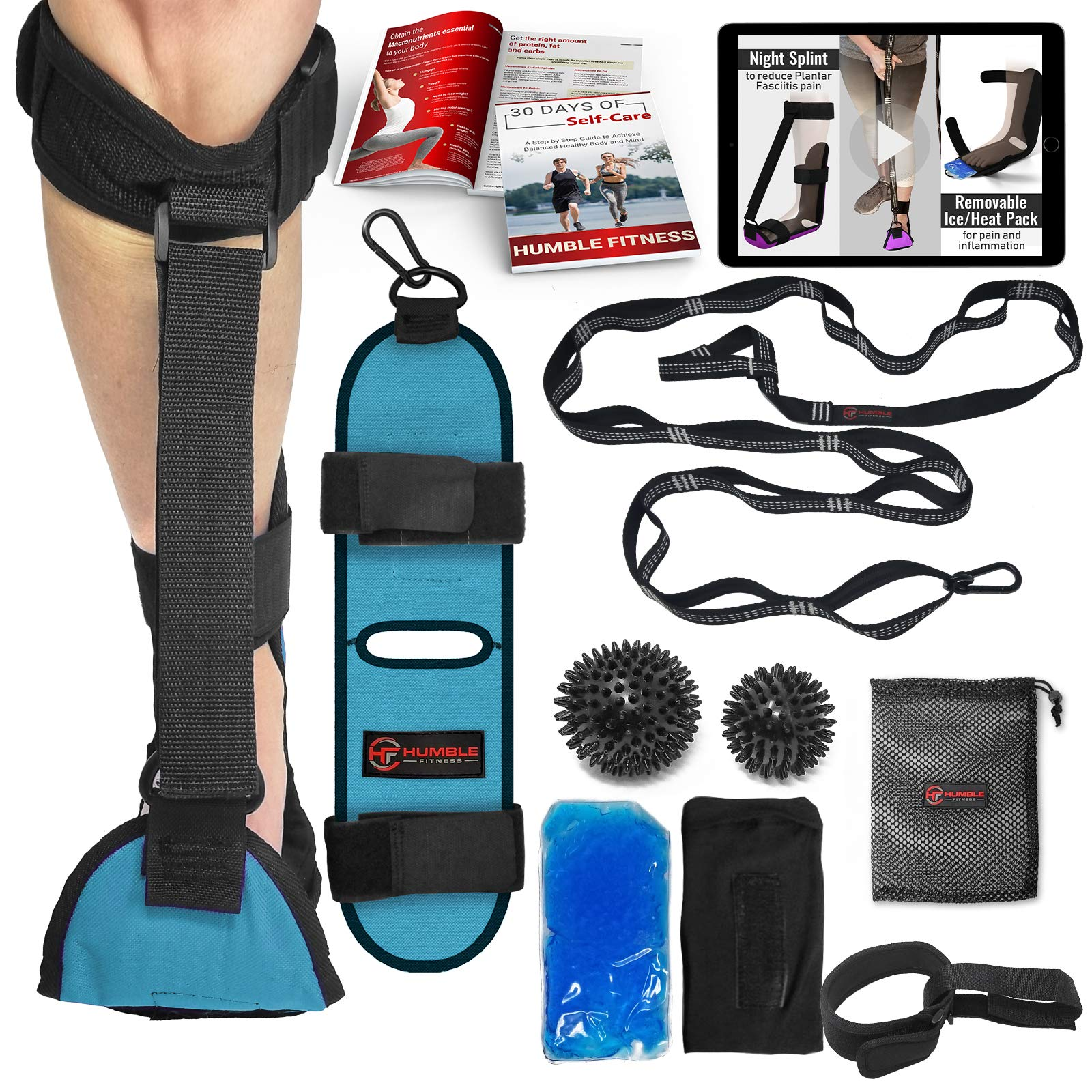 Humble Fitness Plantar Fasciitis Night Splint & Stretching Support Brace -14ft Stretch Strap, 2 Massage Balls, Ice/Heat Pack, Achilles Tendonitis Treatment for Planters Faciatis Men and Woman by Humble Fitness