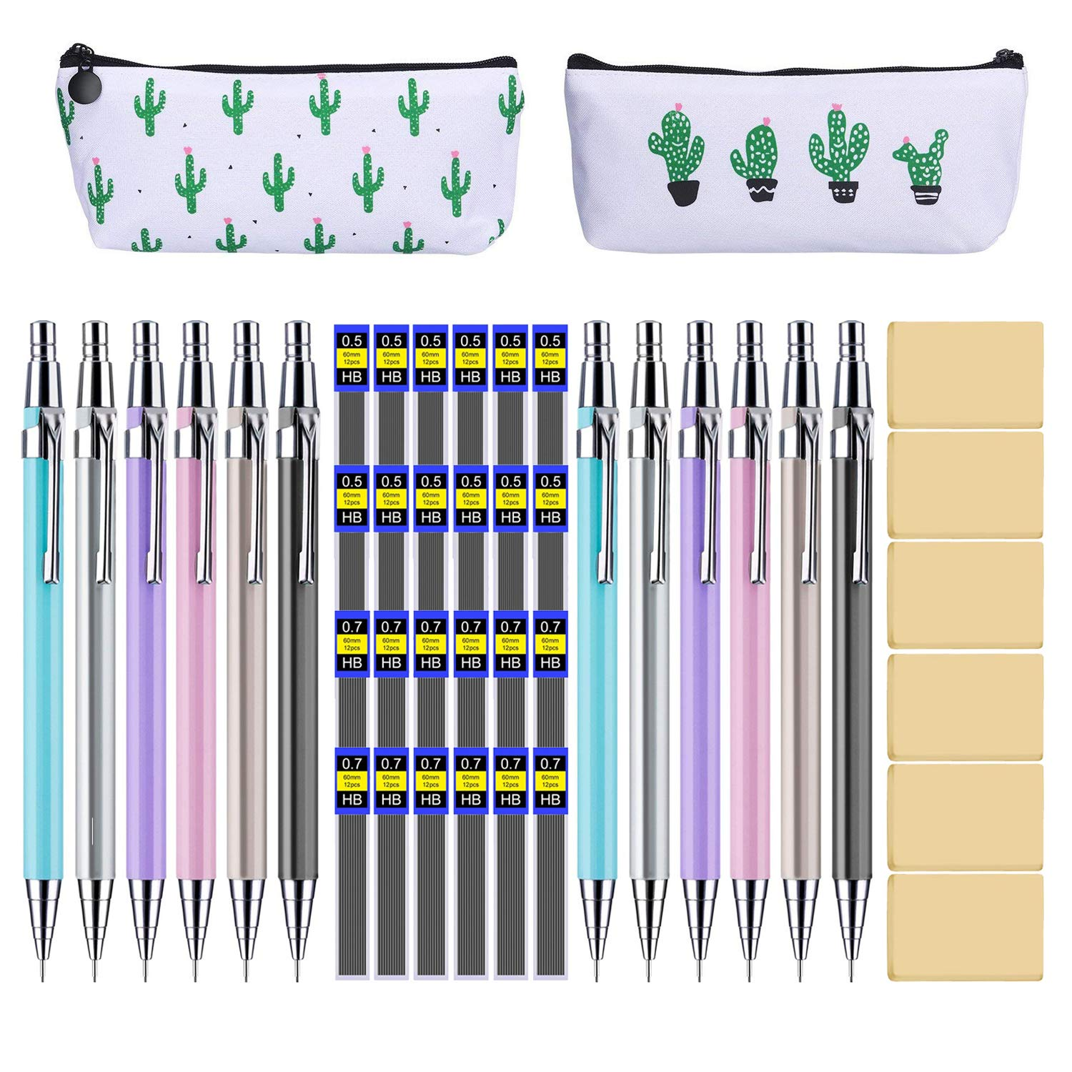 44 Metal Mechanical Pencil Set, Muhuyi 12 Pieces Drafting Mechanical Pens and 24 Tubes Lead Refills with 6 Pack Erasers and 2 Pencil Case (0.5mm 0.7mm) by Muhuyi (Image #1)