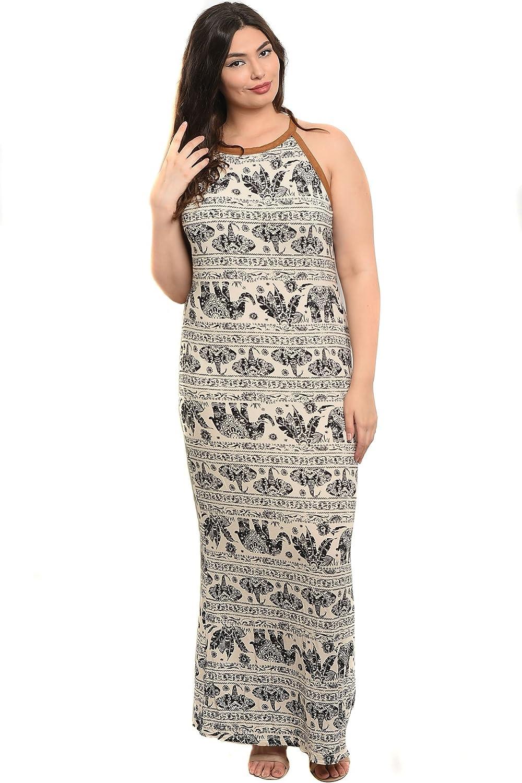 Plus Size Womens Sleeveless Elephant Print Long Maxi Tank Dress at ...