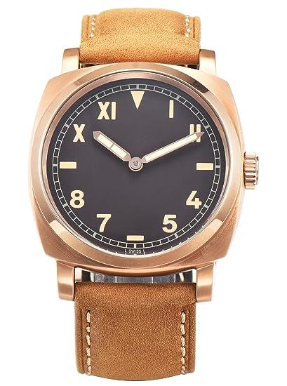 PARNIS 9096 clásica cuerda manual para hombre de pulsera de reloj 47 mm Reloj de hombre acero inoxidable 316L Carcasa de piel de pulsera Marca Reloj Seagull ...