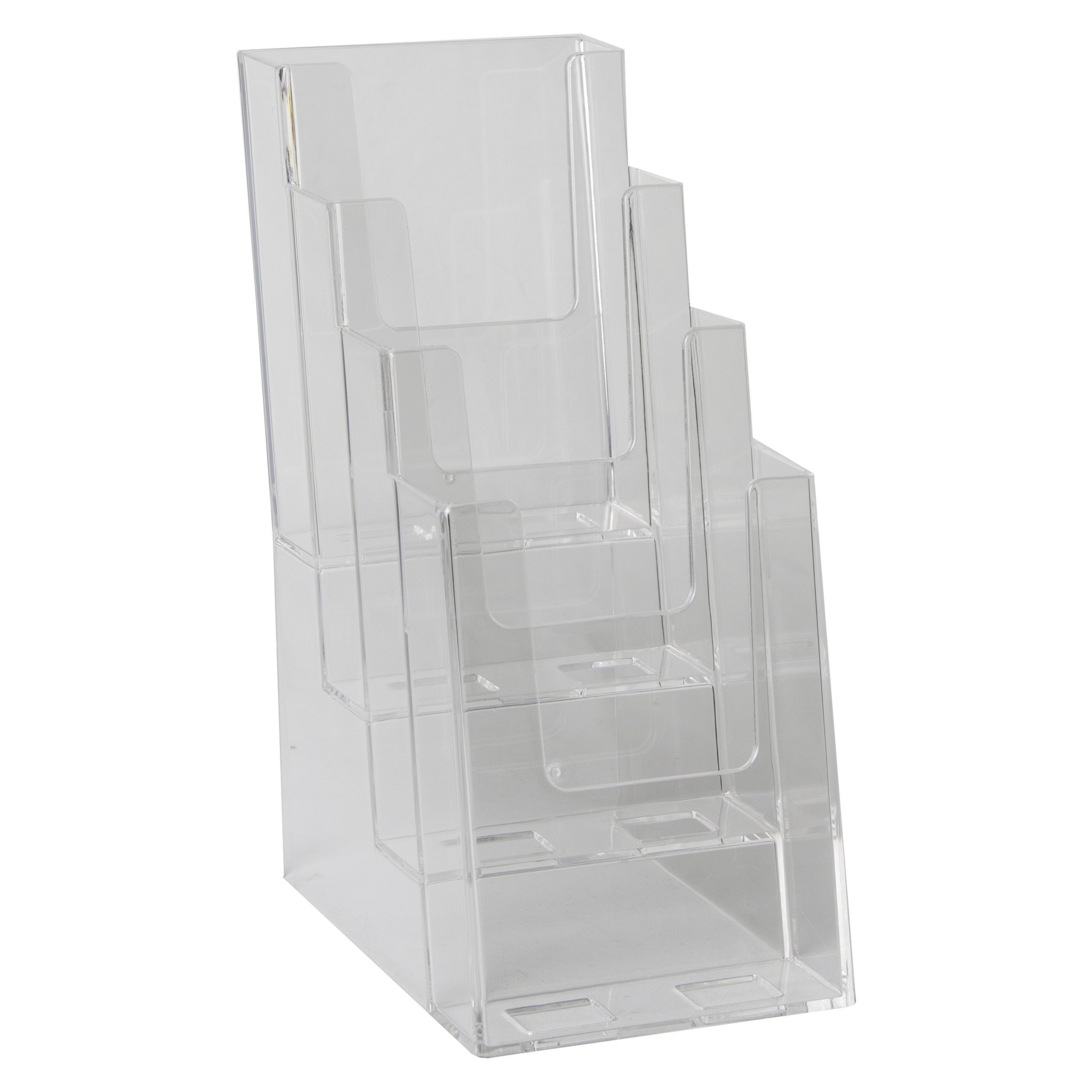 Clear-Ad - LHF-S104 - Acrylic Slant Back 4 Tier Trifold Brochure Display - Plastic Literature Holder for Flyers, Booklets, Bills, Mail, Letters, Cards, Pamphlets, Maps (Pack of 4) by Clear-Ad (Image #5)