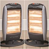 MP Essentials 1200W Portable Home & Office Electric Oscillating 3 Bar Halogen Heater (Pack of 2)