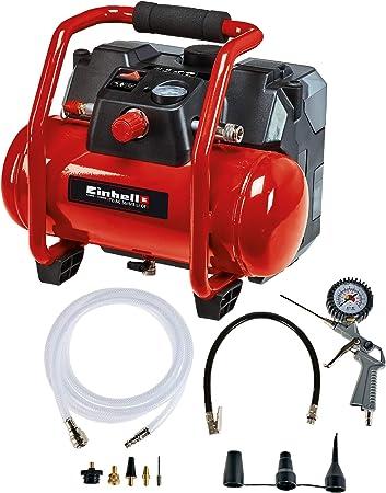 Einhell Compresor H/íbrido Pressito Power X-Change . Li-Ion, con cable de corriente o bater/ía recargable; incluye conjunto de inflado de 3 piezas; sin bater/ía ni cargador