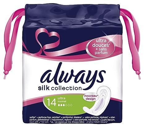 Always Silk Collection - Toallas sanitarias, sin fragancia, ultra normal, 4 x 14