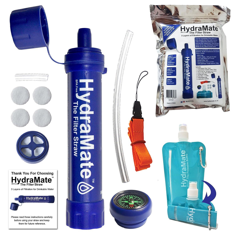 HydraMate - Pajita para filtrar aguaElimina bacterias, protozoos y metales pesados con carbono y membrana UF.1200 L/1500 L de capacidad.SIN BPA.Fácil de usar.Con botella plegable y mucho más.