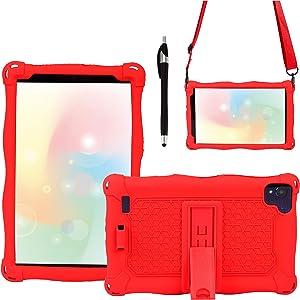 AKNICI Silicone Case for MatrixPad S8,HAOQIN HaoTab H8 Pro,Samsung Galaxy Tab A 8.0 2019 T290/T295/T297,Haehne 8,TECLAST P80X/P80H,Winnovo M8,VUCATIMES N8,Shoulder Strap and Stylus,Red