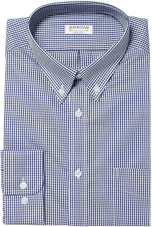 ARROW Vichy - Camisa de Cuadros (Ajustable), Color Azul ...