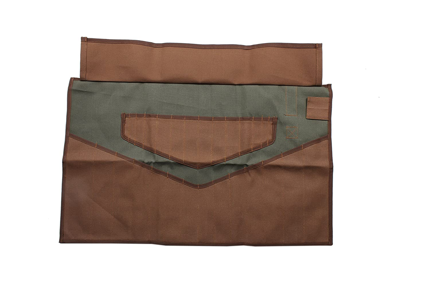 Asian Treasures WR 160004 Wrench Roll 28 Pocket Olive Drab//Cinnamon Brown HW 100/% Dyed Cotton Canvas