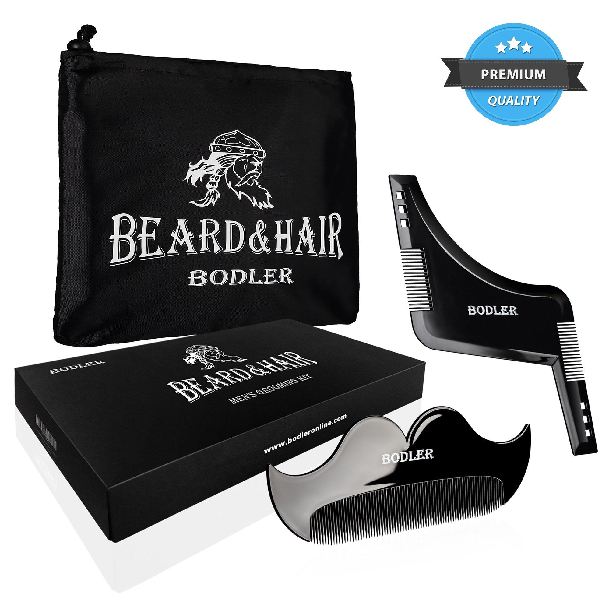 Beard Bib & Beard Shaper Guide For Line Up & Edging - Grooming & Shaving Kit For Men - Trim Your Beard Like a Pro With Goatee Shaping Tool Template & Beard Apron Cape Set - Nice Gift Box Packaging