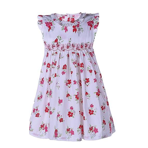 714e5c4ea Mooler Baby Girl s Hand Smocked Classic Dress White Print Floral ...