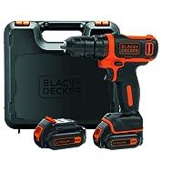 BLACK+DECKER BDCDD12KB-QW Trapano/Avvitatore Compatto con Doppia Batteria e Valigetta, 10.8V, Litio, 1.5 Ah, 10.8 V, Nero/Arancione