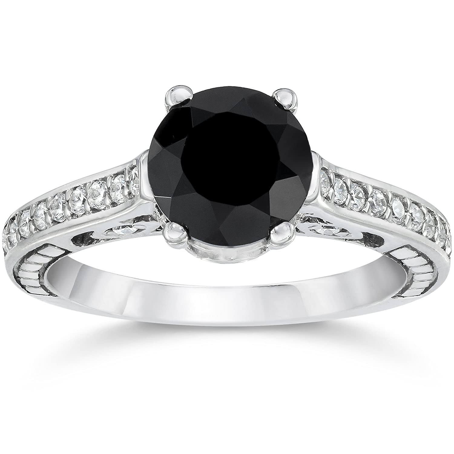 2 5 8ct Vintage Black Diamond Engagement Ring 14K White Gold
