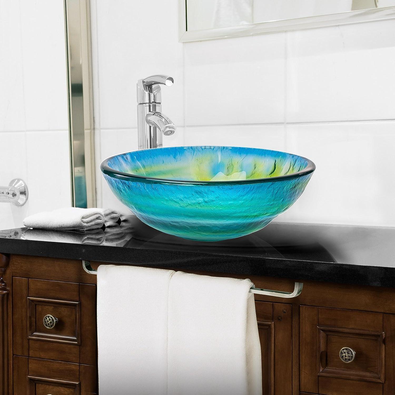 Above Counter Bathroom Vanity Basin Bowl Round Blue /& Green Miligor/é Modern Glass Vessel Sink