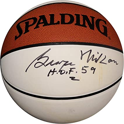 a4fc55f74e6 George Mikan Hand Signed Autographed Basketball MPLS LA Lakers White Panel