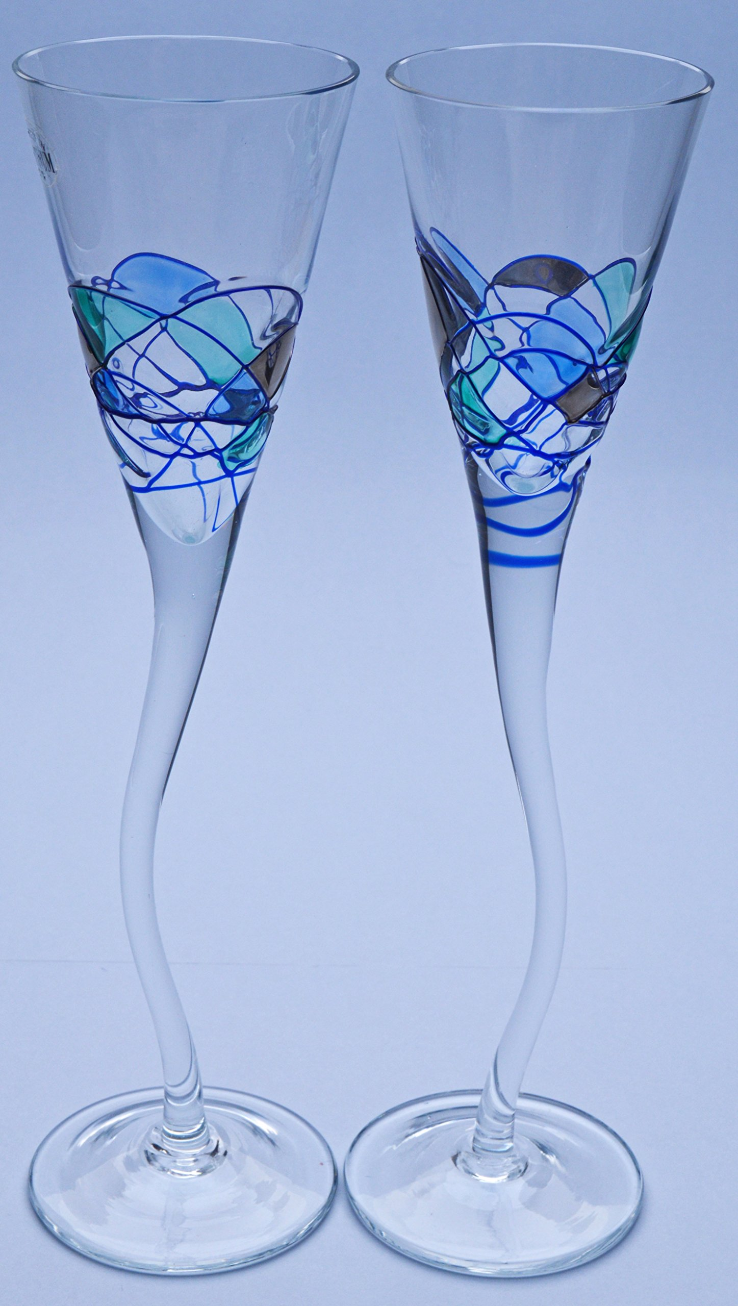 PAIR OF SHERRY GLASS GOBLET ROYAL AQUAMARINA, unique glass goblet of artisanal production, manufactured with blown glass technique and handpainted. 10,43'' x 8,66'' x 3,15''
