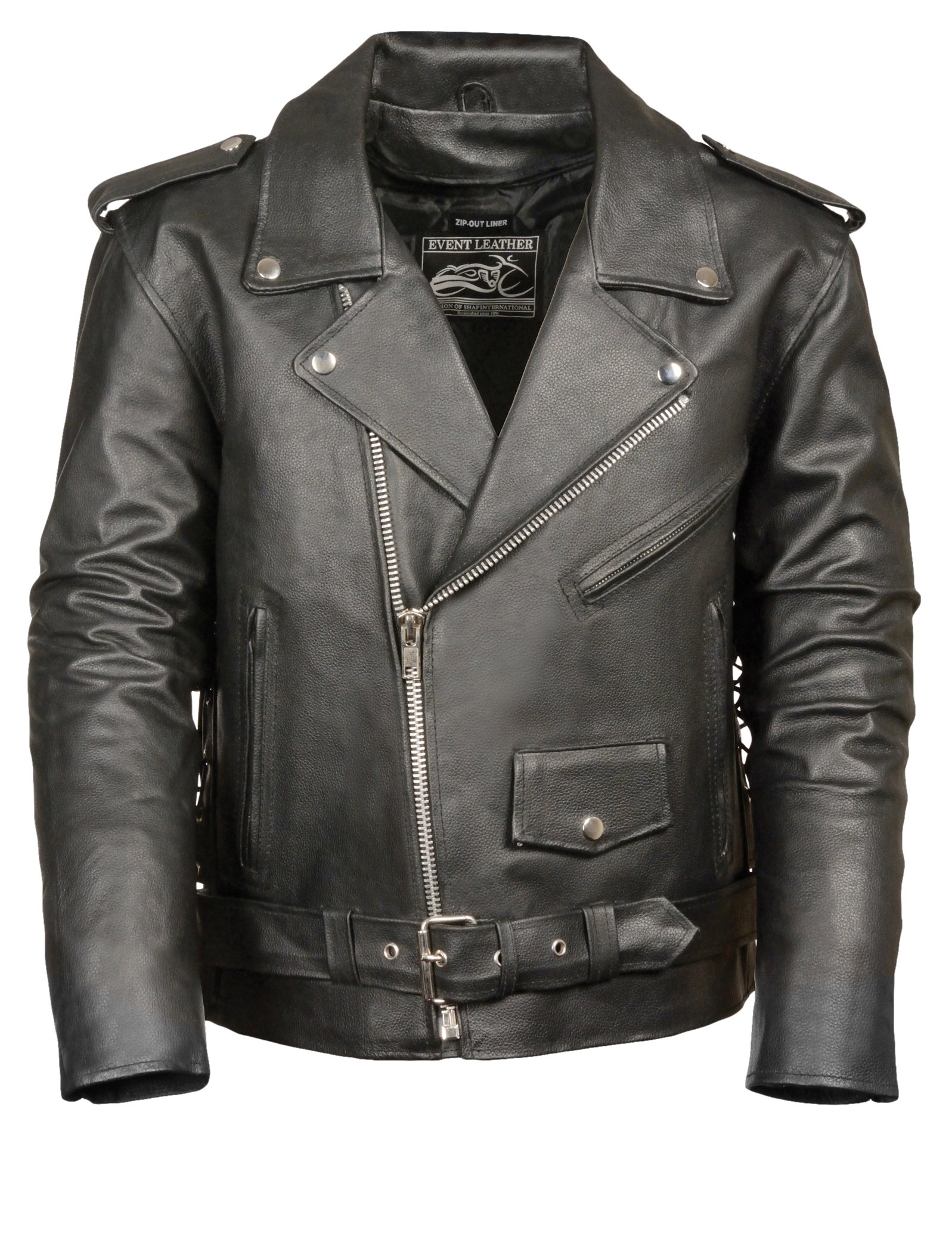Event Biker Leather Men's Basic Motorcycle Jacket with Pockets (Black, 5X-Large) by Event Biker Leather