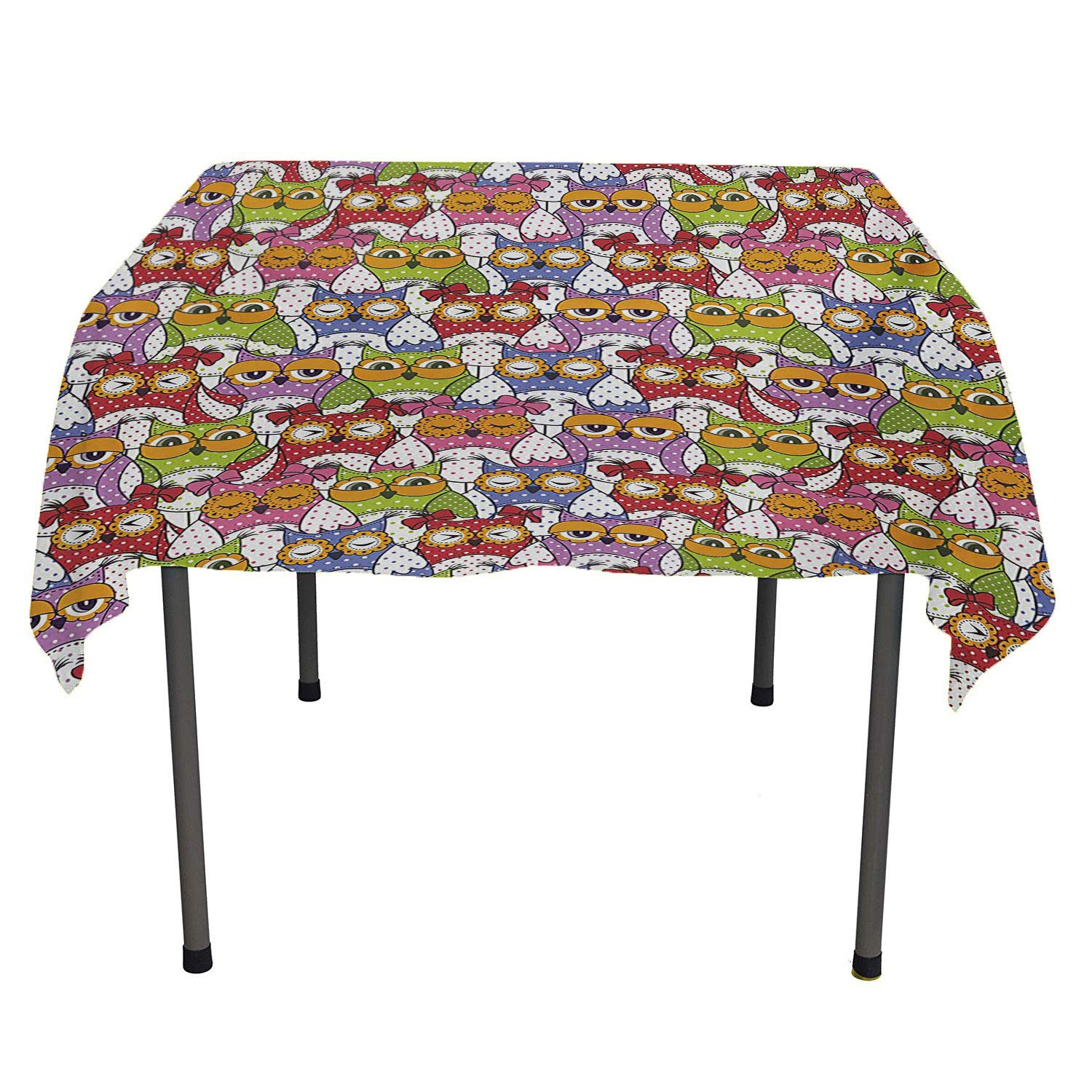 All of better Owl Tablecloth Durable Ornate Owl Crowd with Different Sights and Polka Dots Like Matryoshka Dolls Fun Retro Theme Multi Waterproof tablecloths Spring/Summer/Party/Picnic 50 by 80 by All of better