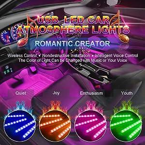 Car LED Strip Lights, USB LED Interior Lights for car, DC 5V Multicolor Music Car Strip Light Under Dash Lighting Kit with Sound Active Function and Wireless Remote Controller (USB car Light kit)