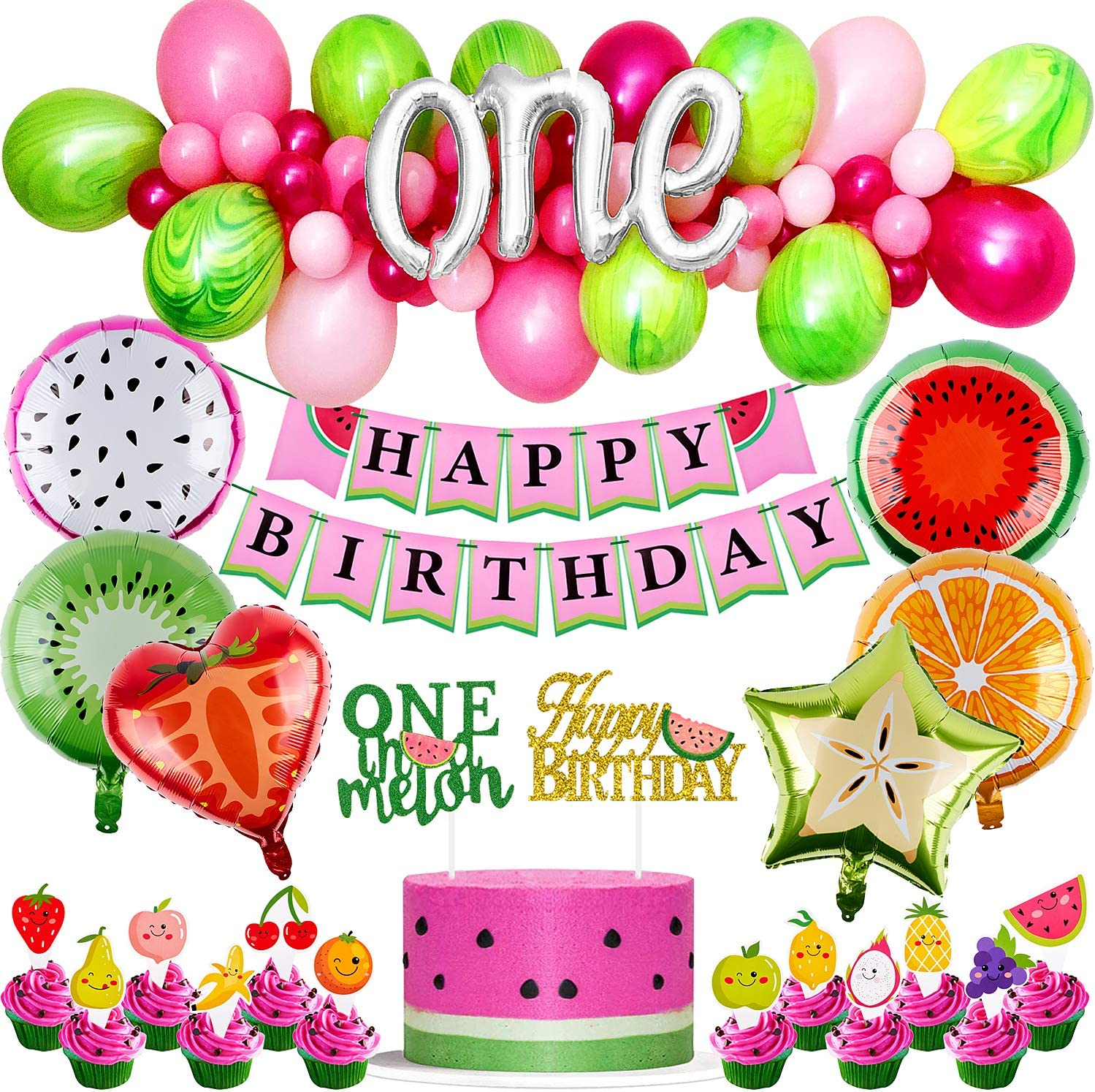 Golray 69 Pack Watermelon Birthday Party Decorations Supplies with Balloons Arch, One in a Melon Cake Cupcake Toppers Watermelon Themed Birthday Banner Summer Fruit Foil Balloons, 1st Birthday Decor One in a Melon Party Decorations