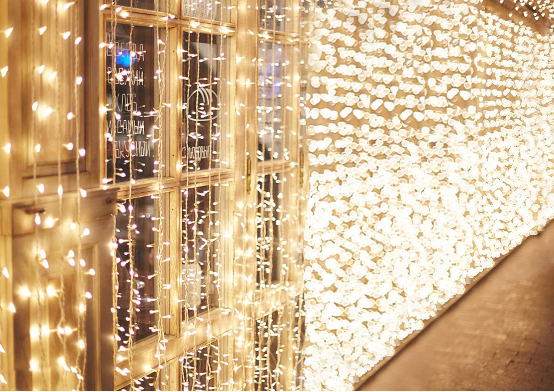 600 LED 6M x 3M IDESION Tenda Luminosa Natale Impermeabile IP44 Tenda Luci Natale 8 Modalità Tenda Luminosa Esterno Bianco Caldo Tenda Di Luci Esterno Natale [Classe di efficienza energetica A+] [Classe di efficienza energetica A+]