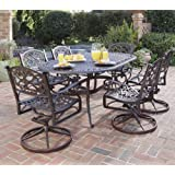 Home Styles 5555-335 Biscayne 7-Piece Outdoor Dining Set, Rust Bronze Finish