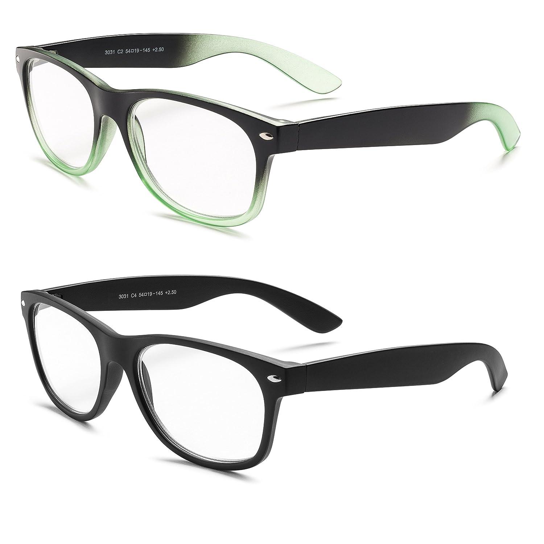 6f8f6d3e91c Amazon.com  Specs Wayfarer Reading Glasses (Matte Black and Black  Green  Gradient) +1.50 2-Pack  Clothing