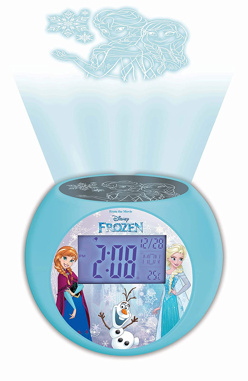 Lexibook Disney Frozen Elsa Radio projector clock, sound effects, battery-powered, Blue/Black, RL975FZ