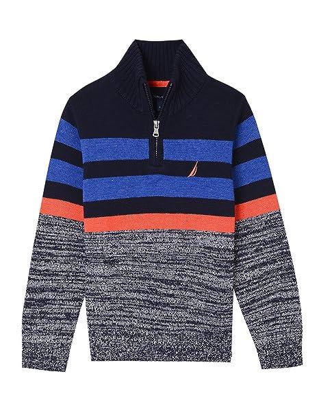 f687cd2a4 Nautica suéter a Rayas con Cuello y Cierre para niños, Briner Sport Navy,  Small