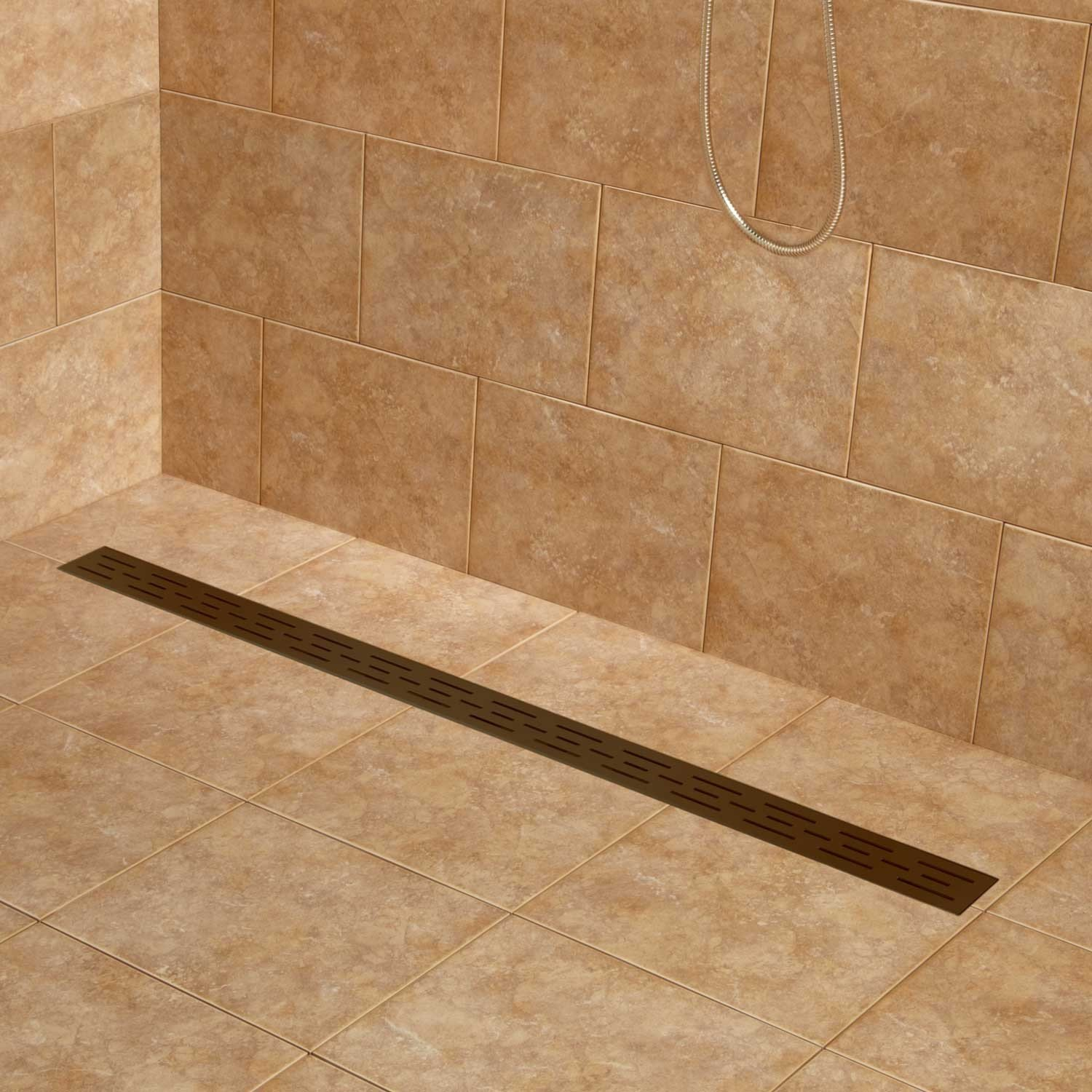 Naiture 60'' Stainless Steel Linear Shower Floor Drain With Drain Flange In Oil Rubbed Bronze Finish