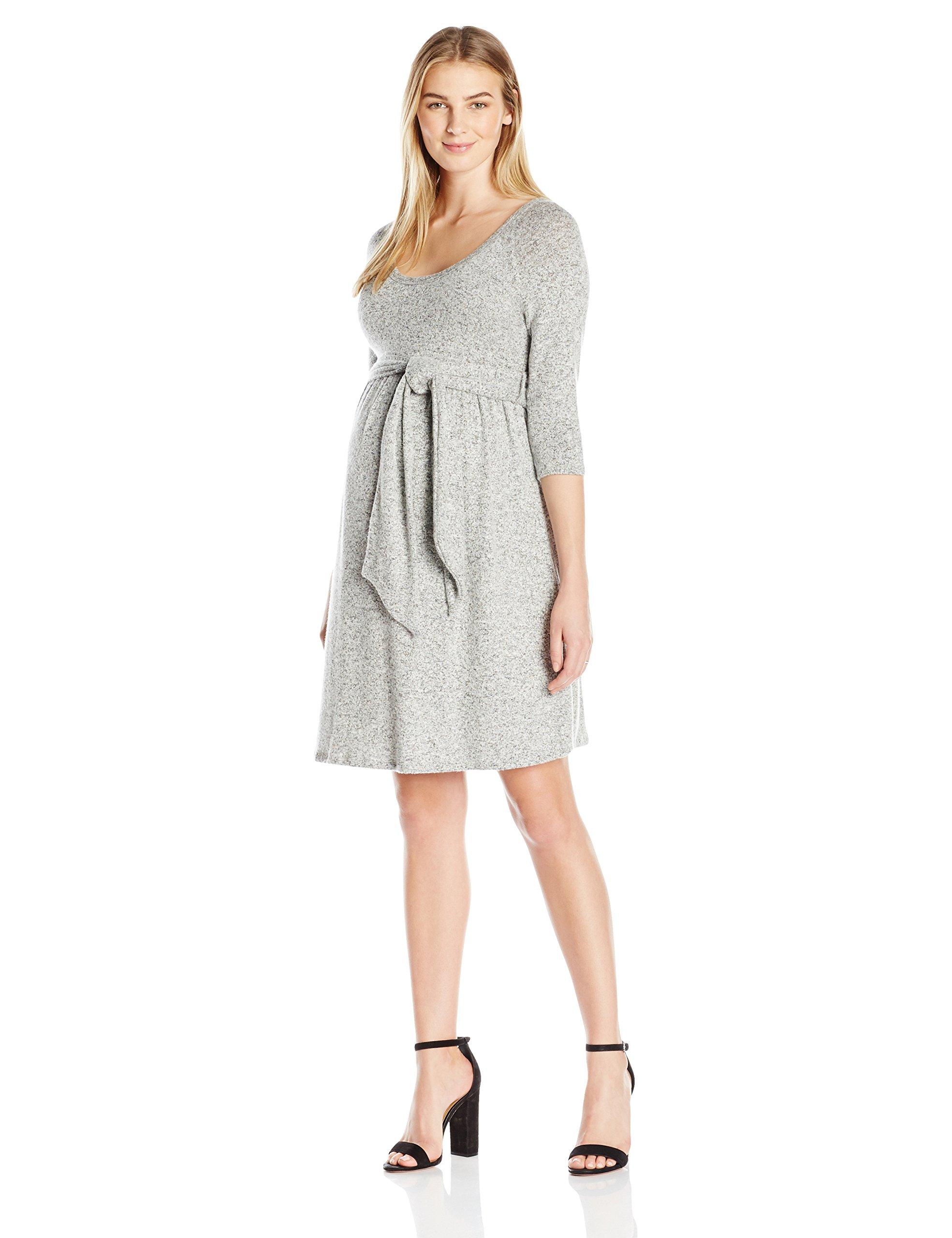 Maternal America Women's Maternity Scoop Neck Front Tie Dress, Grey, LARGE