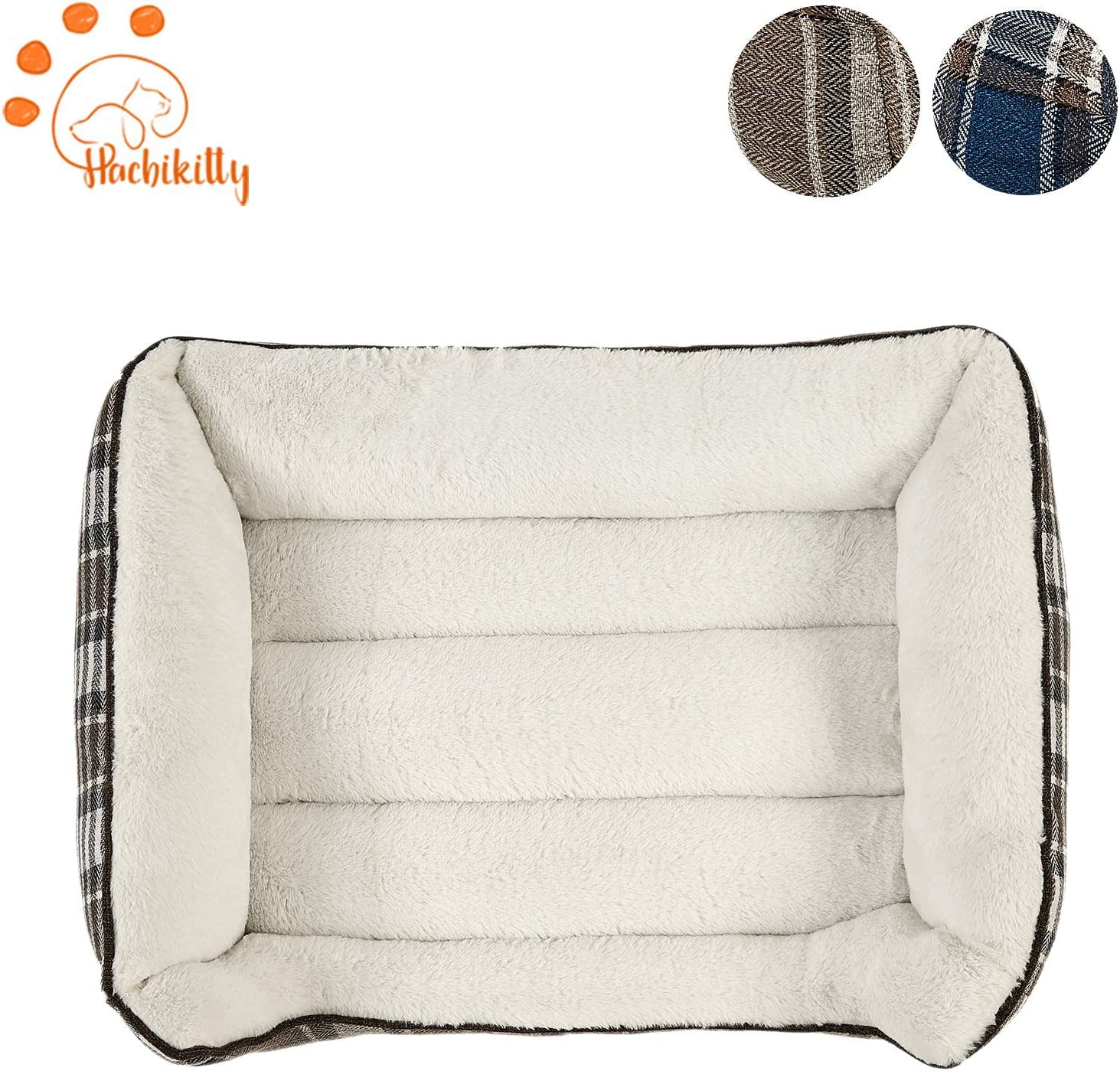 HACHIKITTY Durable Dog Bed Machine Washable Medium Size Puppy Bed, Comfortable Medium Pet Bed Plaid