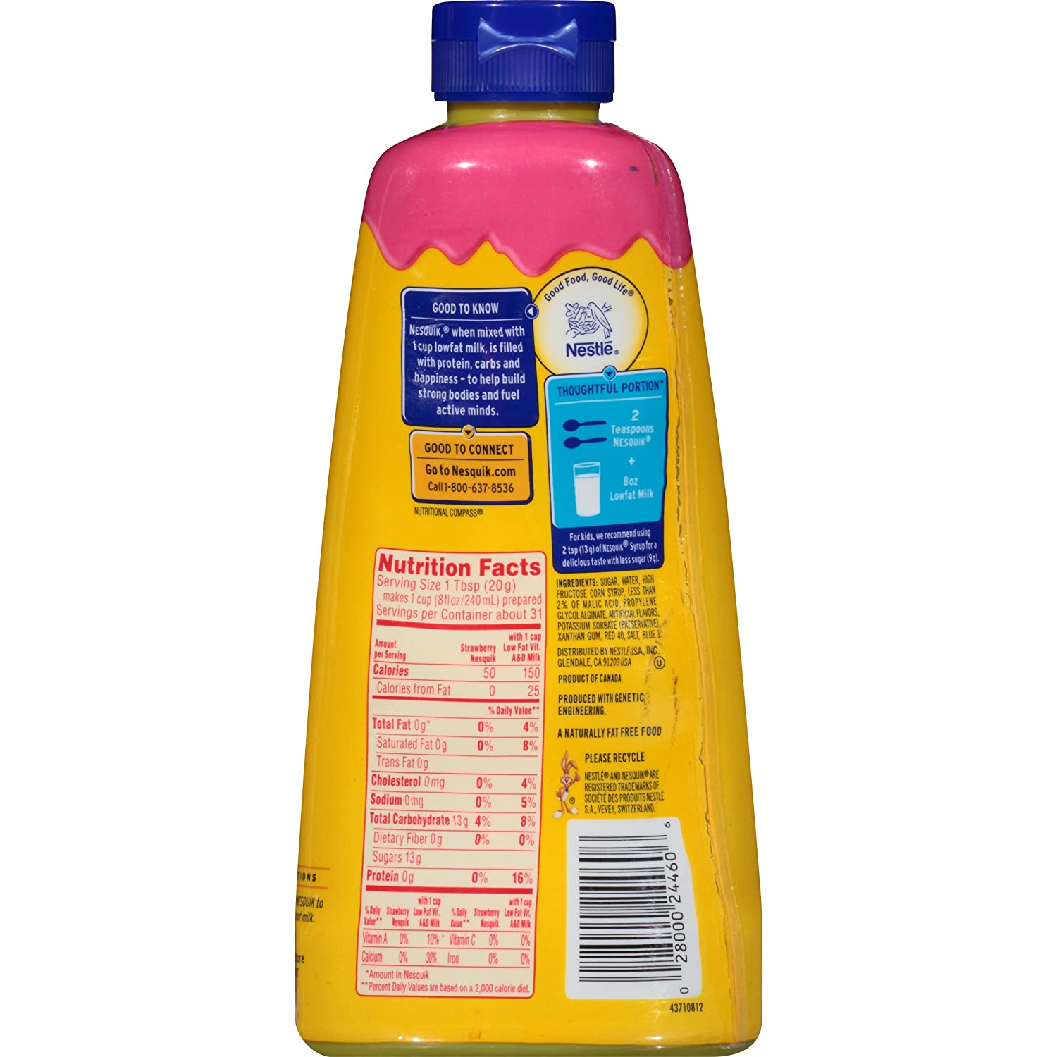 Amazon.com : Nesquik Syrup, Strawberry, 22-Ounce Bottles (Pack of ...