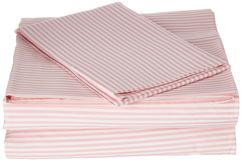 Laura Hart Kids Printed Stripe Sheet Set, Twin X-Large, Pink Stripe