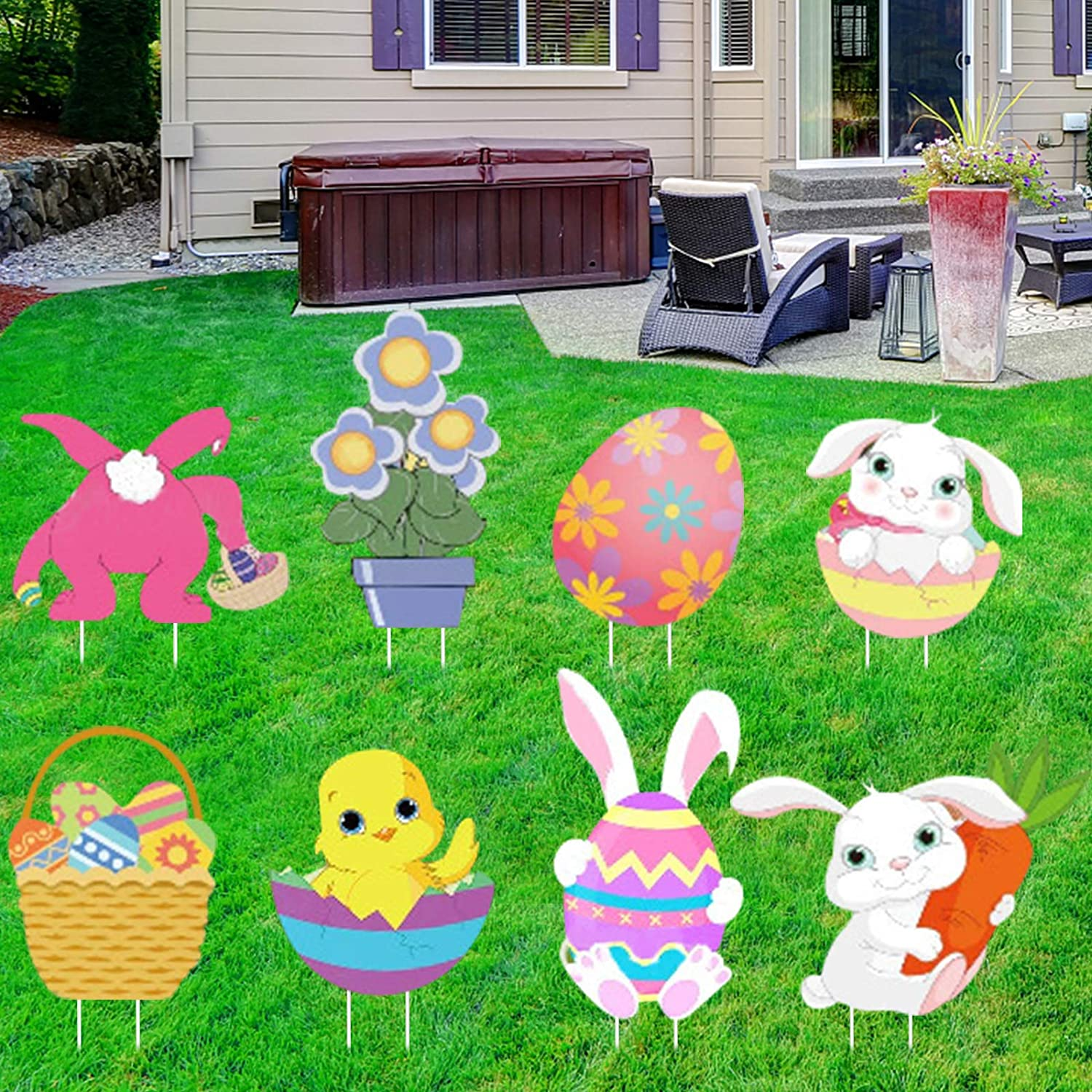 Lorvain 8PCS Easter Yard Signs Lawn Outdoor Decorations, Easter Egg Bunny Chick Yard Stake Signs Easter Party Decor