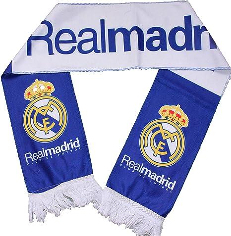 Real Madrid FC 2014 azul y blanco bufanda del ventilador: Amazon ...