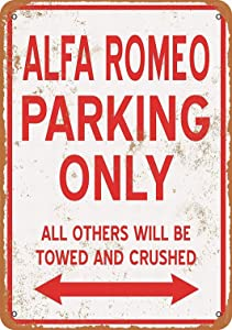 LoMall 12 x 16 Metal Sign - ALFA Romeo Parking ONLY - Vintage Wall Decor Art