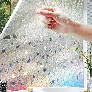 PeiQiH 3D Static Decorative Films,Window Films,Wc Bathroom Both Suitable for Home and Office Opaque Opacity No Glue Static Film Sun-A 45x100cm(18x39inch)