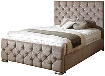 """dee6bd441864 iBEX BED FRAME 4"""" 6 DOUBLE CHENILLE Mink in Crushed Velvet or Upholstered  Storage Bed"""