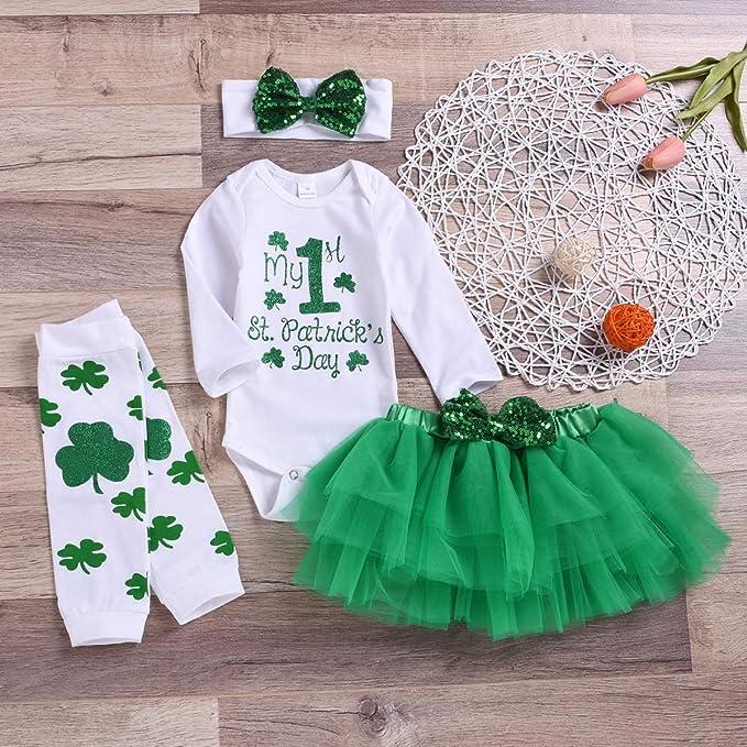 St Plain or Glitter! Patrick/'s Day Shamrrock Cutie green tulle Baby girl Toddler Tutu Skirt Outfit Top Bodysuit shamrock leggings