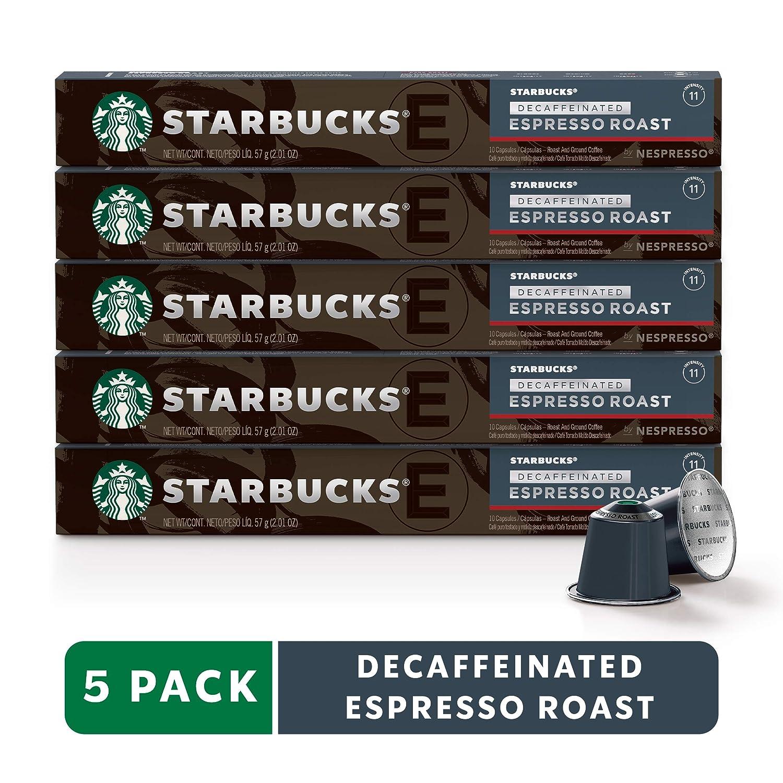 Starbucks by Nespresso, Decaf Espresso Dark Roast (50-count single serve capsules, compatible with Nespresso Original Line System)