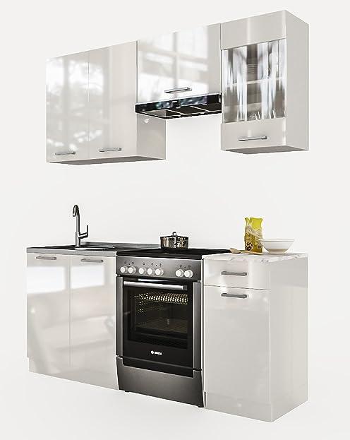 """Neu Küche """"Martha"""" Weißlackiert 180 Cm Küchenzeile Küchenblock"""