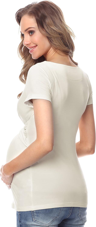Be Mammy Camiseta Premam/á Manga Corta Embarazo Lactancia Ropa Verano BE20-215
