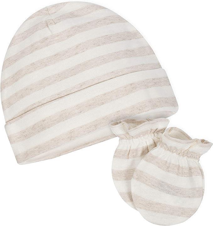 GERBER Baby Boys 8-Piece Organic Cap and Mitten Set